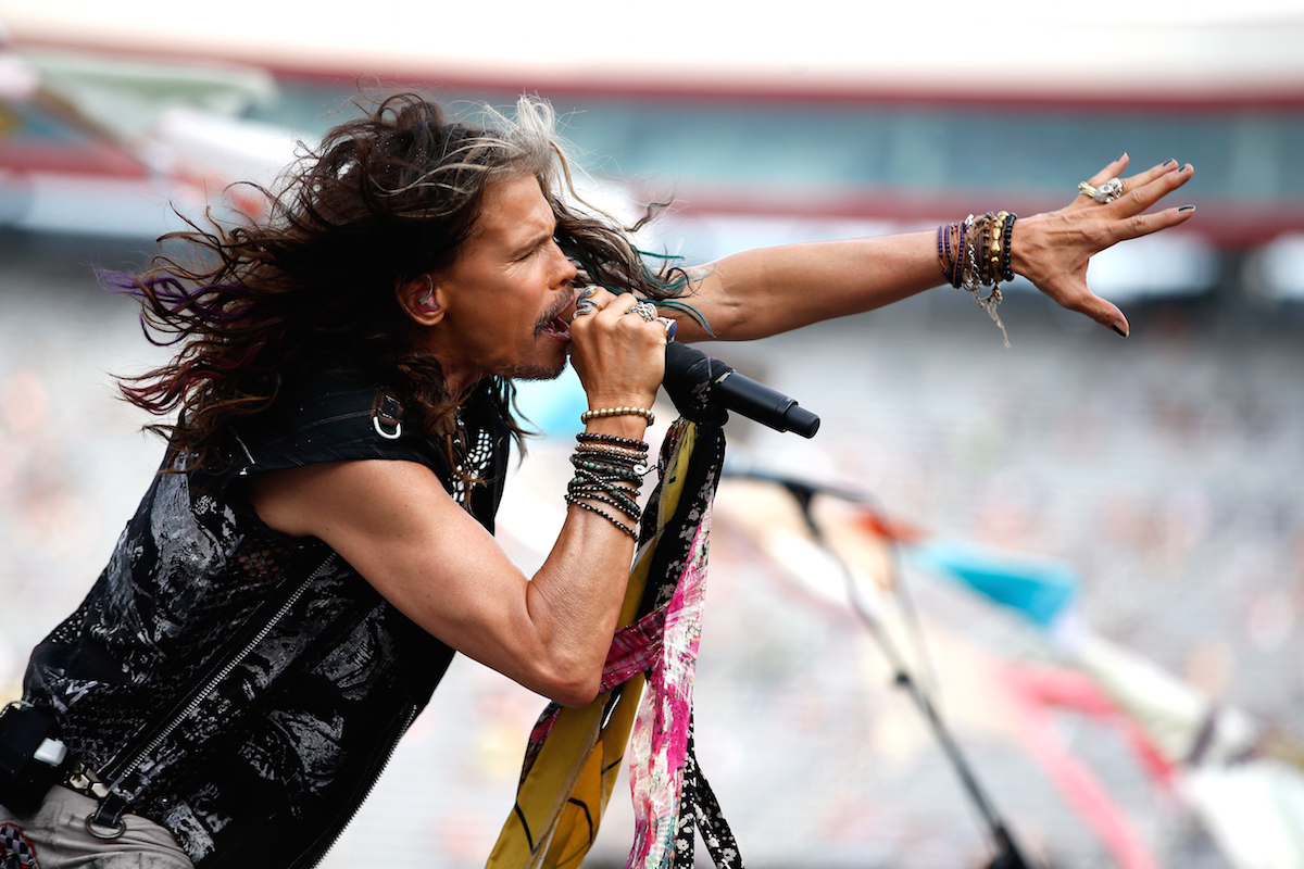 BRISTOL, TN - AUGUST 22: Steven Tyler performs prior to the NASCAR Sprint Cup Series IRWIN Tools Night Race at Bristol Motor Speedway on August 22, 2015 in Bristol, Tennessee. (Photo by Gregory Shamus/Getty Images)